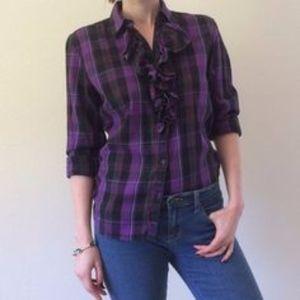 Lauren Ralph Lauren Purple Plaid Ruffle Shirt Lg